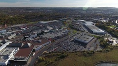 Aerial view of a large shopping centre area in Dudley. Stock Footage