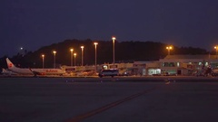 Phuket International Airport- 2016. View of the New Terminal from airfield Stock Footage