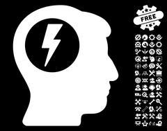 Brain Electric Shock Vector Icon with Tools Bonus Stock Illustration