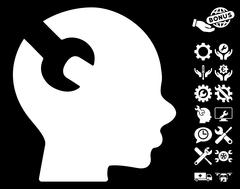 Brain Wrench Tool Vector Icon with Tools Bonus Stock Illustration