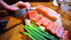 Amazing salt samlon fillets is being cut. Stock Footage