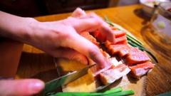 Amazing salt samlon fillets is being cut. Stock Footage