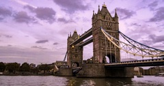 Time lapse view of the iconic Tower Bridge at  sunset Stock Footage