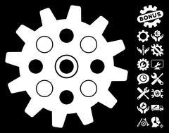 Gearwheel Vector Icon with Tools Bonus Stock Illustration