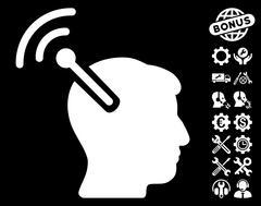 Radio Neural Interface Vector Icon with Tools Bonus Stock Illustration