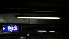 Entrance and flashing light on the underground car parking Stock Footage