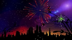 Fireworks city Stock Footage
