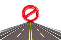 Prohibiting sign on road. Isolated 3D image Stock Illustration
