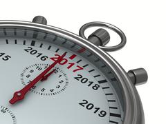 Year calendar on stopwatch. Isolated 3D image Piirros