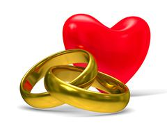 Heart and wedding rings on white background. Isolated 3D image Stock Illustration