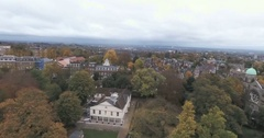 Aerial fly over view of a typical Georgian Victorian village in North London Stock Footage