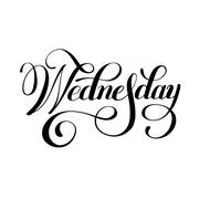 Wednesday day of the week handwritten black ink calligraphy Stock Illustration
