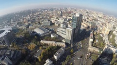 Flight over the business Centre Parus, Kiev, Ukraine Stock Footage