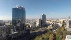 Flight over the business Centre Parus, Kiev, Ukraine Stock Footage