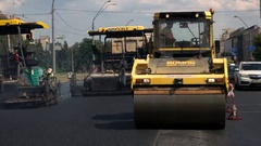 Front view of road roller. Stock Footage