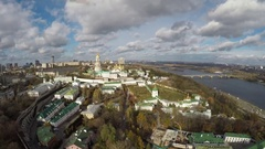 Aerial view Kiev-Pechersk Lavra in autumn Stock Footage