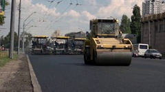 Asphalt rollers on the street. Stock Footage