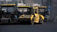Yellow colored asphalt roller. Stock Footage
