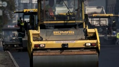 Front view of asphalt compactor. Stock Footage