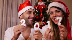 Couple Celebrating Christmas and Happy New Year 2017 Stock Footage