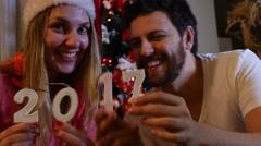 Couple celebrating 2017, New Year Stock Footage