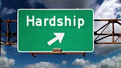 Hardship Ahead Road Sign Background Concept  	 Stock Footage