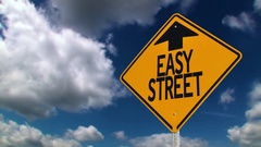 Easy Street Road Sign Background Concept	 	 Stock Footage
