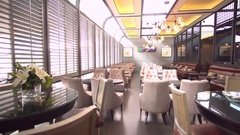 Vintage Restaurant Footage Background. Lounge Area. Retro style chairs. Day Stock Footage