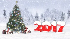4K 2017 christmas snow background Stock Footage