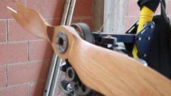 Wooden aircraft propeller Stock Footage