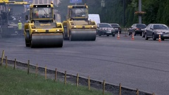 Vibratory compactors on road. Stock Footage