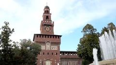 Sforza Castle in Milan Stock Footage