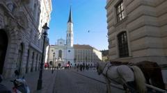 Vienna first district, Hofburg Palace seen from Michaelerplatz in Vienna Stock Footage