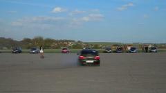Mitsubishi Lancer Evolution Subaru Impreza Drift drag racing. Stock Footage
