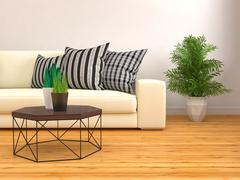 Interior with white sofa. 3d illustration Stock Illustration