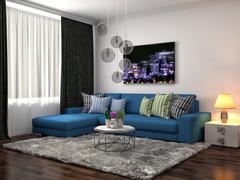 Interior with blue sofa. 3d illustration Stock Illustration