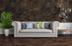 Interior with grey sofa. 3d illustration Stock Illustration