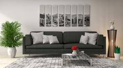 Interior with black sofa. 3d illustration Stock Illustration