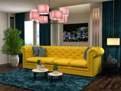 Interior with yellow sofa. 3d illustration Stock Illustration