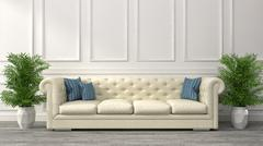 Interior with white sofa. 3d illustration Stock Illustration