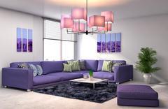 Interior with purple sofa. 3d illustration Stock Illustration