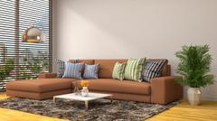 Interior with brown sofa. 3d illustration Stock Illustration