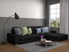 Interior with black sofa. 3d illustration Stock Illustration