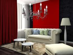 Red interior with white sofa. 3d illustration Stock Illustration