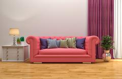 Interior with pink sofa. 3d illustration Stock Illustration
