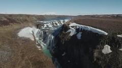 Beautiful And Famous Gullfoss Waterfall Stock Footage