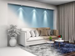 Interior with sofa and CAD wireframe mesh. 3d illustration Stock Illustration
