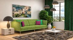 Interior with green sofa. 3d illustration Stock Illustration