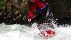 Stand Up Paddle Boarder in White Water Slow Motion Tight Shot. Stock Footage