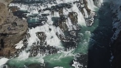 Beautiful And Majestic Gullfoss In Iceland Stock Footage